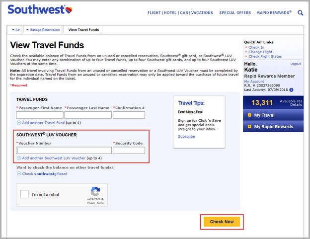 Southwest Travel Funds Usage